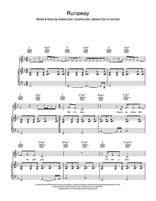 The Corrs Runaway sheet music notes and chords. Download Printable PDF.