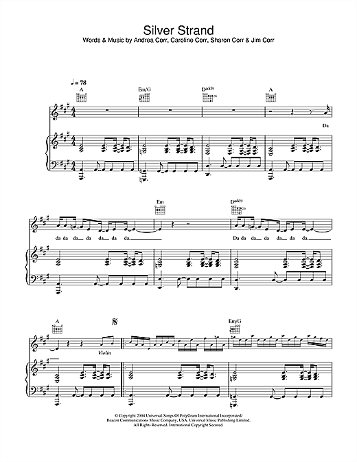 The Corrs Silver Strand sheet music notes and chords. Download Printable PDF.