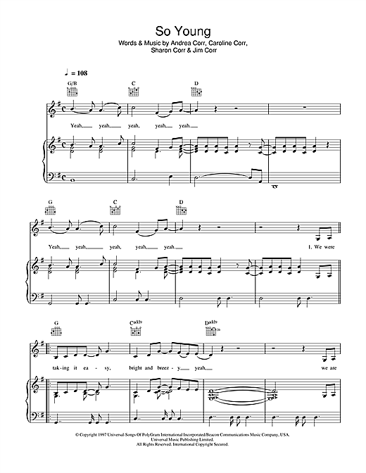 The Corrs So Young sheet music notes and chords. Download Printable PDF.