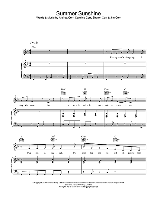 The Corrs Summer Sunshine sheet music notes and chords. Download Printable PDF.