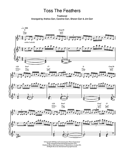 The Corrs Toss The Feathers sheet music notes and chords. Download Printable PDF.