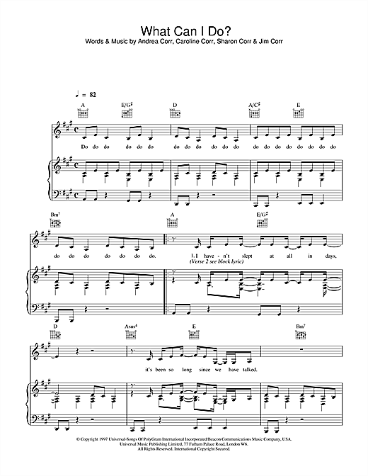 The Corrs What Can I Do sheet music notes and chords. Download Printable PDF.