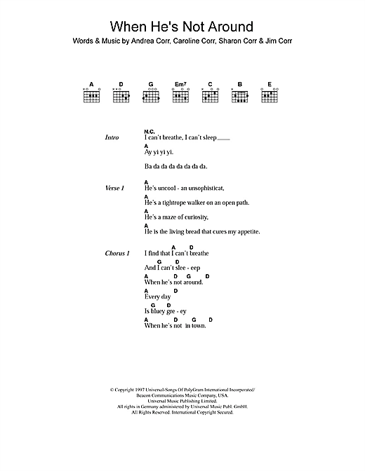 The Corrs When He's Not Around sheet music notes and chords. Download Printable PDF.