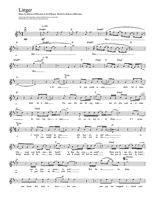 The Cranberries Linger sheet music notes and chords. Download Printable PDF.