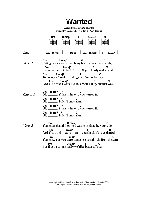 The Cranberries Wanted sheet music notes and chords. Download Printable PDF.