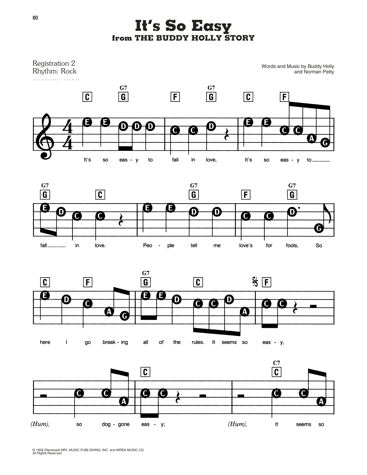 The Crickets It's So Easy (from The Buddy Holly Story) sheet music notes and chords. Download Printable PDF.