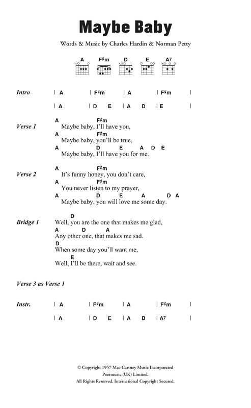 The Crickets Maybe Baby sheet music notes and chords. Download Printable PDF.