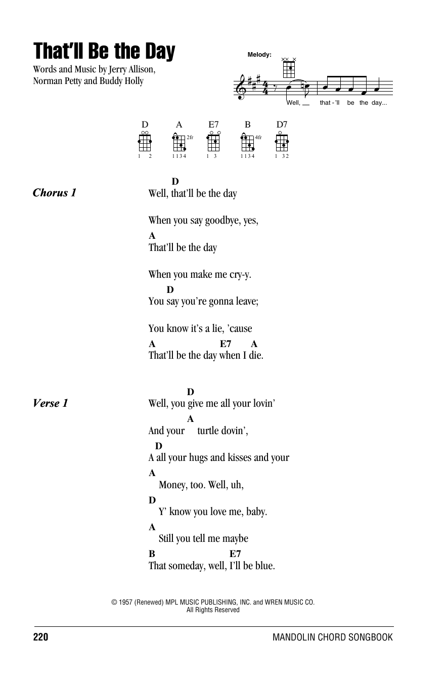 The Crickets That'll Be The Day sheet music notes and chords. Download Printable PDF.