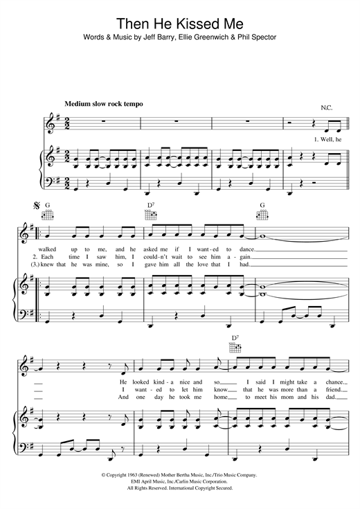 The Crystals (And) Then He Kissed Me sheet music notes and chords. Download Printable PDF.