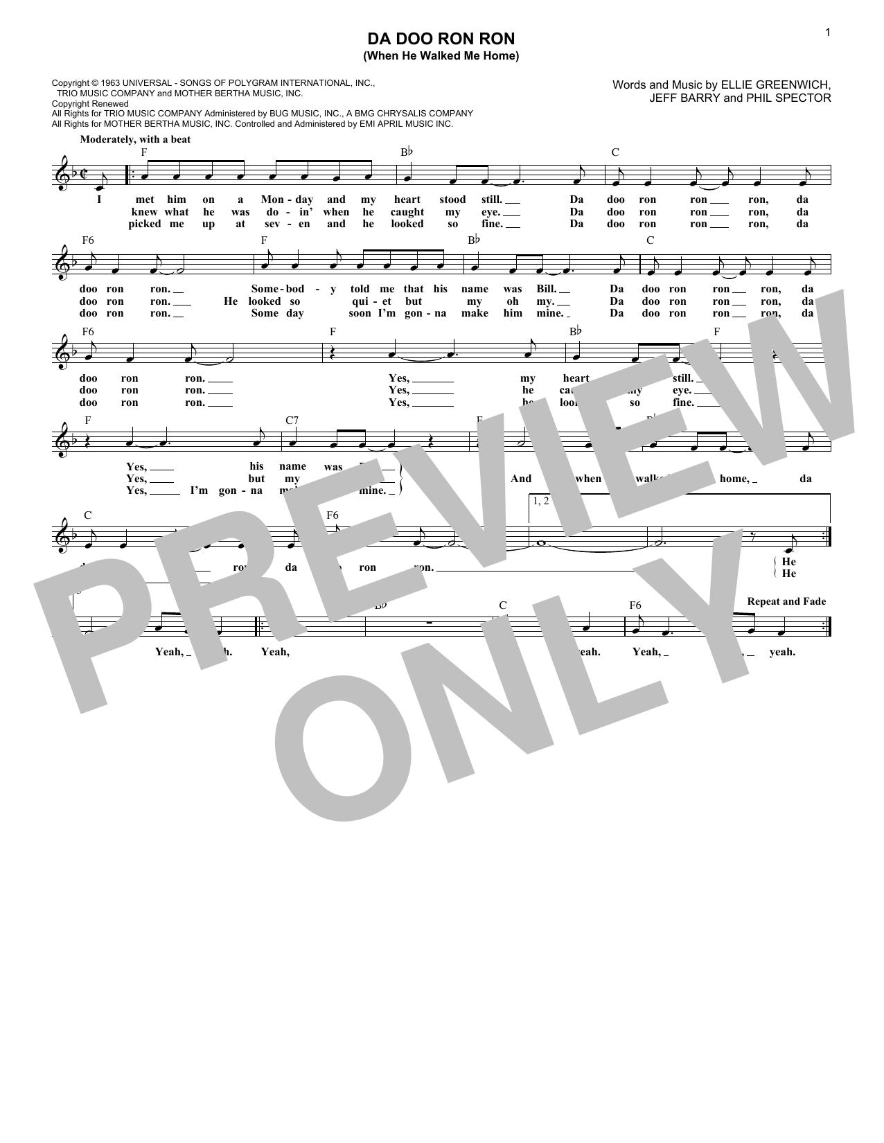 The Crystals Da Doo Ron Ron (When He Walked Me Home) sheet music notes and chords. Download Printable PDF.