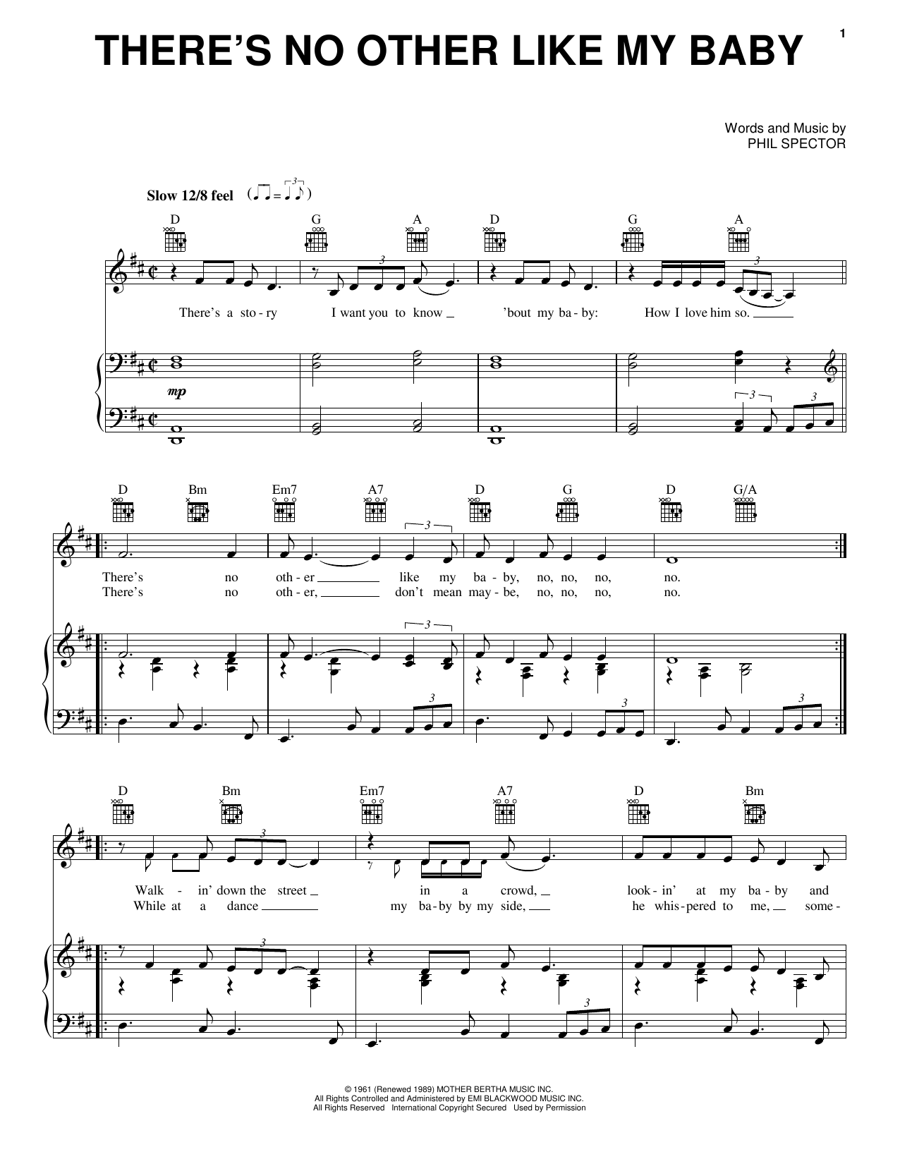 The Crystals There's No Other Like My Baby sheet music notes and chords. Download Printable PDF.