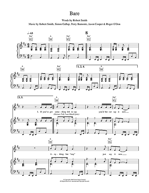The Cure Bare sheet music notes and chords. Download Printable PDF.