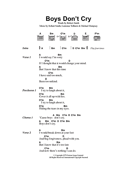 The Cure Boys Don't Cry sheet music notes and chords. Download Printable PDF.