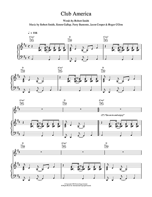 The Cure Club America sheet music notes and chords. Download Printable PDF.