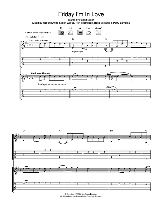 The Cure Friday I'm In Love sheet music notes and chords. Download Printable PDF.