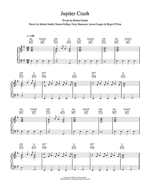 The Cure Jupiter Crash sheet music notes and chords