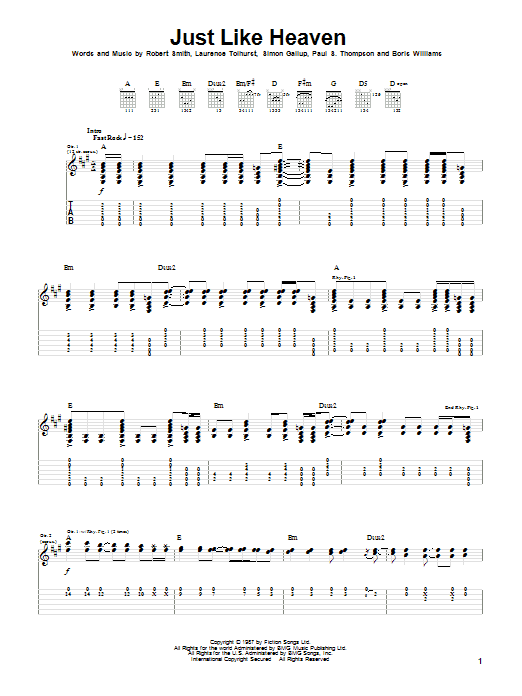 The Cure Just Like Heaven sheet music notes and chords. Download Printable PDF.