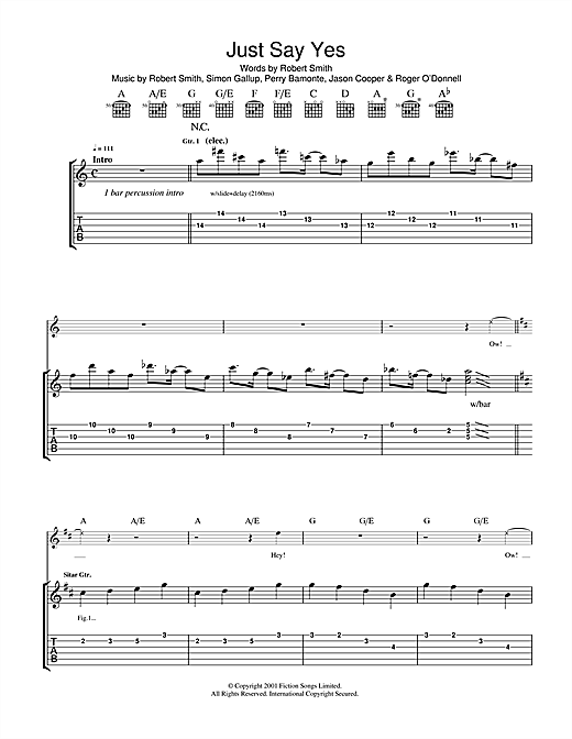 The Cure Just Say Yes sheet music notes and chords. Download Printable PDF.