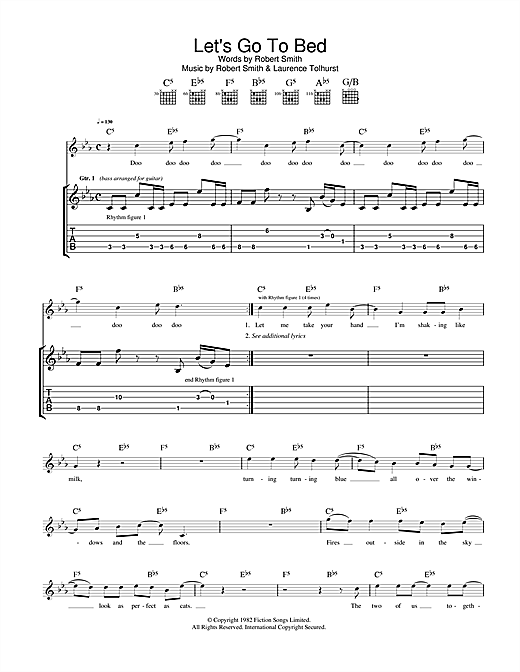 The Cure Let's Go To Bed sheet music notes and chords. Download Printable PDF.