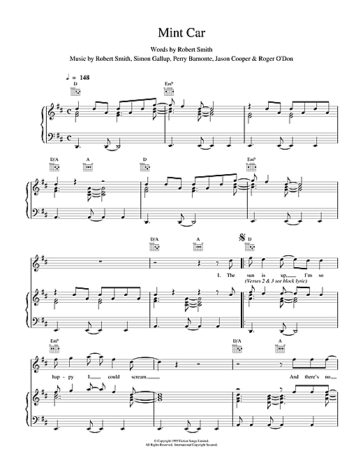 The Cure Mint Car sheet music notes and chords