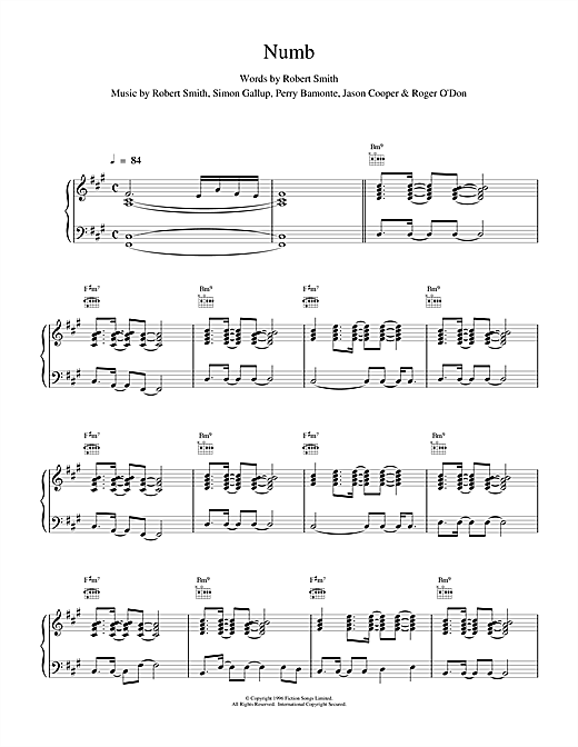 The Cure Numb sheet music notes and chords