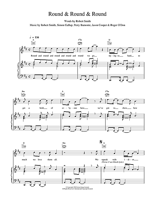 The Cure Round & Round & Round sheet music notes and chords