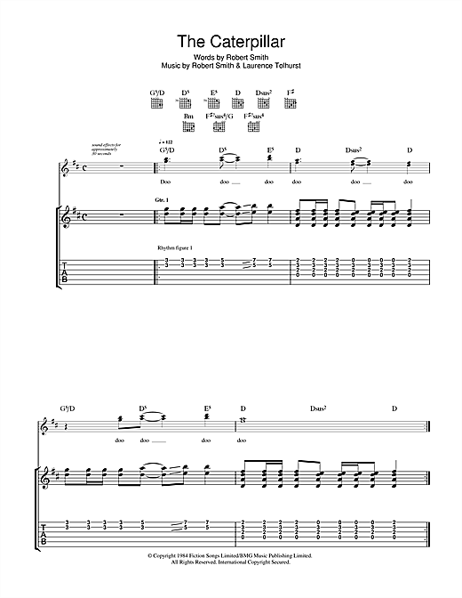 The Cure The Caterpillar sheet music notes and chords. Download Printable PDF.