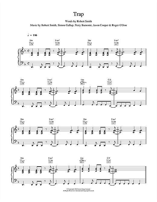 The Cure Trap sheet music notes and chords