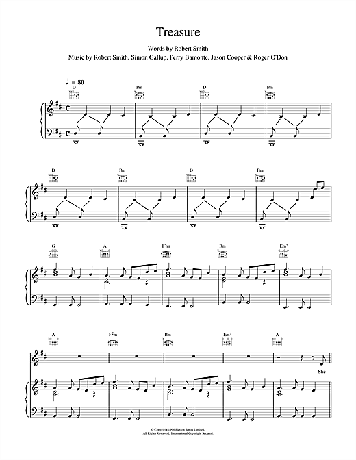 The Cure Treasure sheet music notes and chords