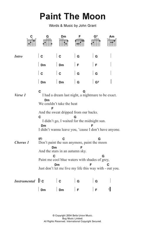 The Czars Paint The Moon sheet music notes and chords. Download Printable PDF.