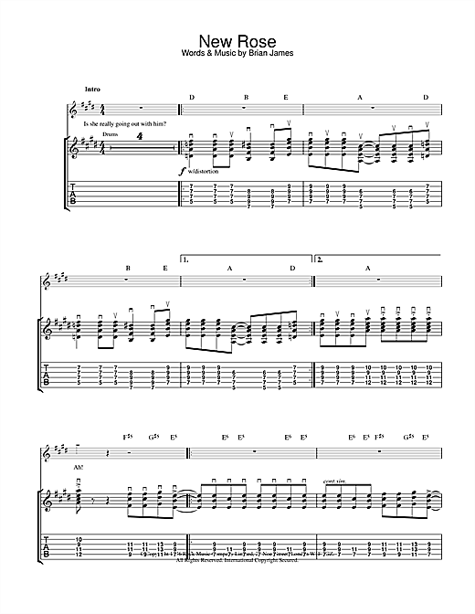 The Damned New Rose sheet music notes and chords. Download Printable PDF.