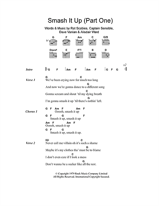The Damned Smash It Up (Part One) sheet music notes and chords. Download Printable PDF.