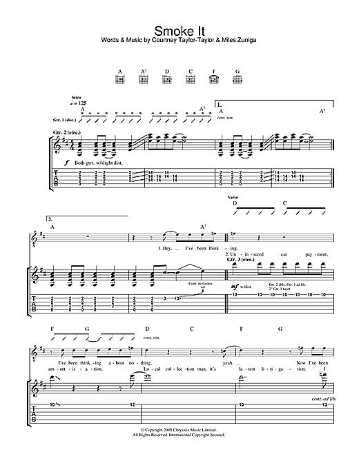 The Dandy Warhols Smoke It sheet music notes and chords. Download Printable PDF.