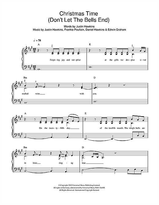 The Darkness Christmas Time (Don't Let The Bells End) sheet music notes and chords. Download Printable PDF.