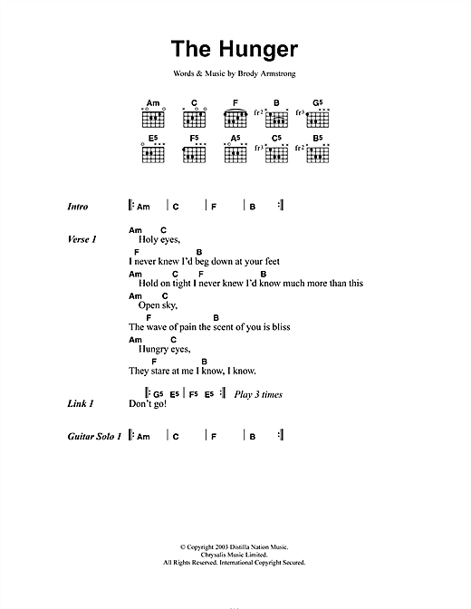 The Distillers The Hunger sheet music notes and chords. Download Printable PDF.
