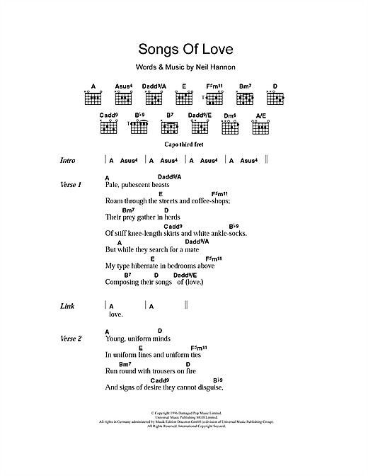 The Divine Comedy 'Songs Of Love' Sheet Music Notes, Chords | Download  Printable Piano, Vocal & Guitar - SKU: 103055