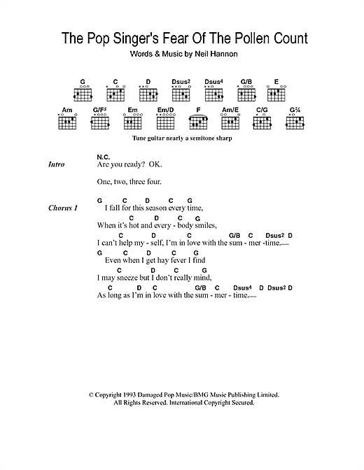 The Divine Comedy The Pop Singer's Fear Of The Pollen Count sheet music notes and chords. Download Printable PDF.