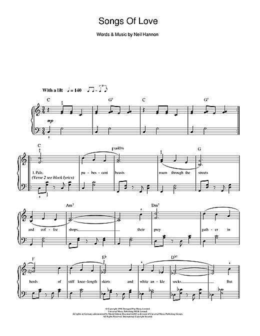 The Divine Comedy   Songs Of Love sheet music notes and chords