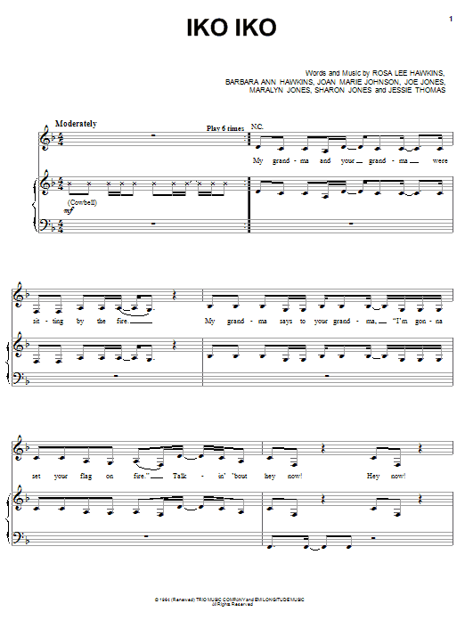 The Dixie Cups Iko Iko sheet music notes and chords. Download Printable PDF.