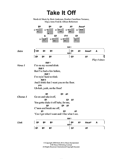 The Donnas Take It Off sheet music notes and chords. Download Printable PDF.