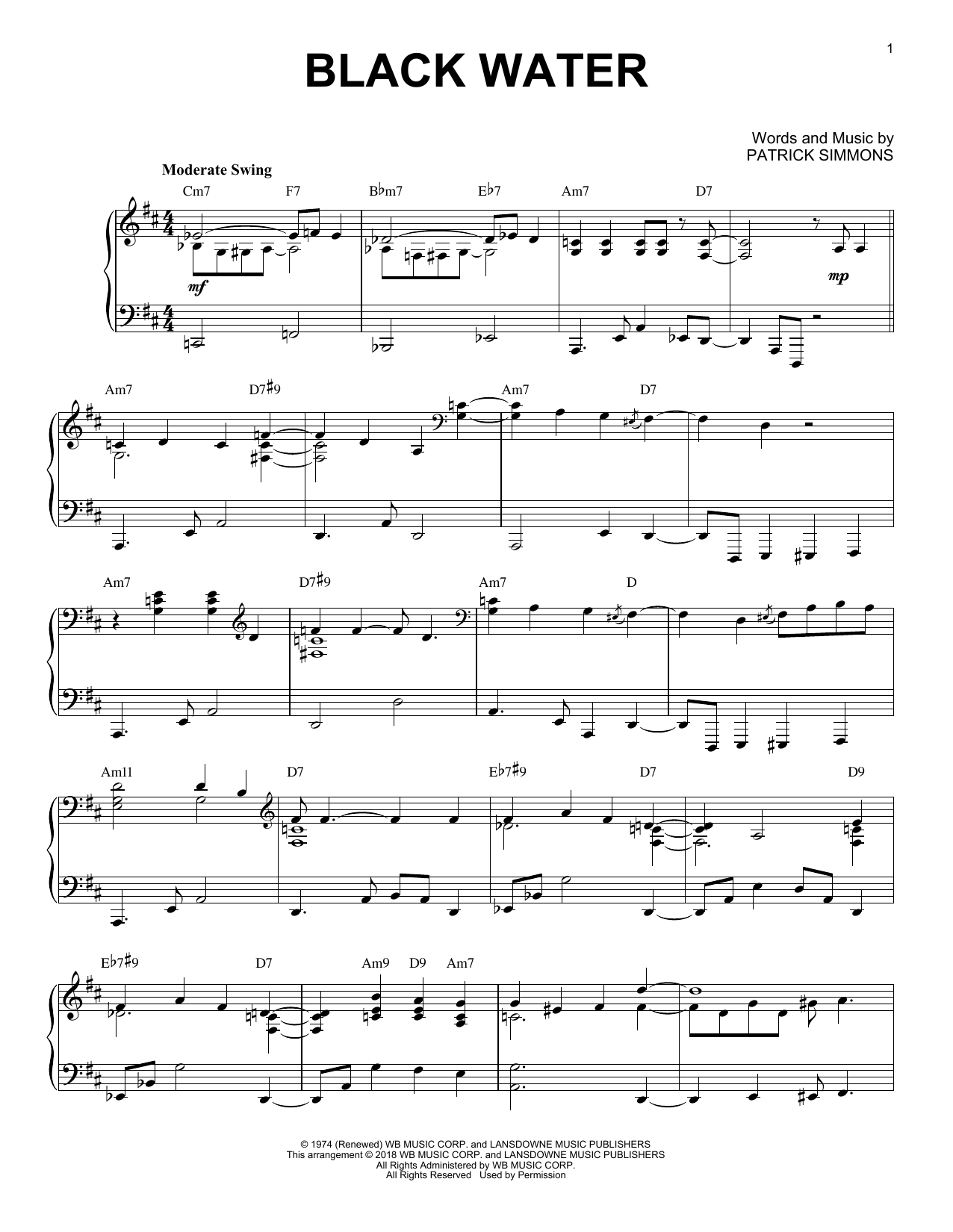 The Doobie Brothers Black Water [Jazz version] sheet music notes and chords