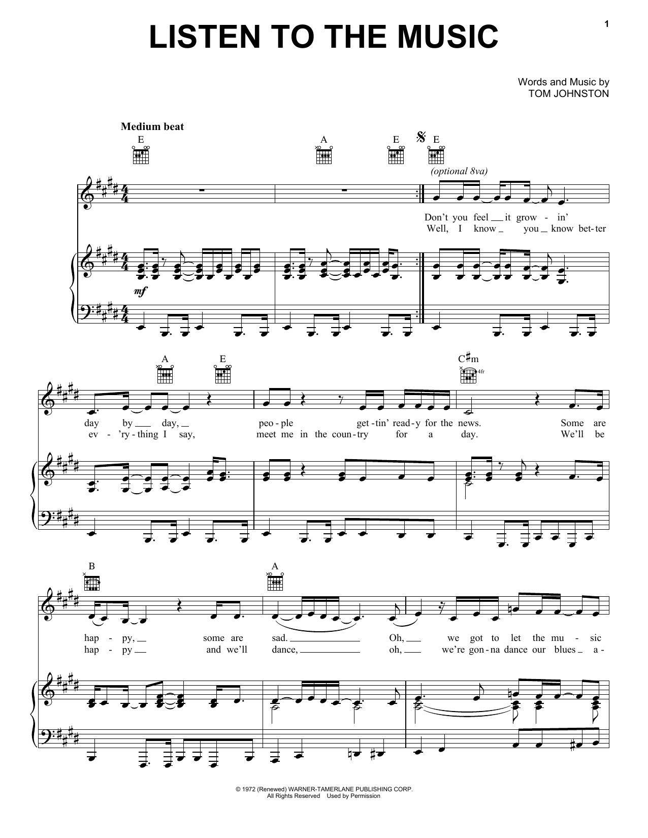 The Doobie Brothers Listen To The Music sheet music notes and chords. Download Printable PDF.