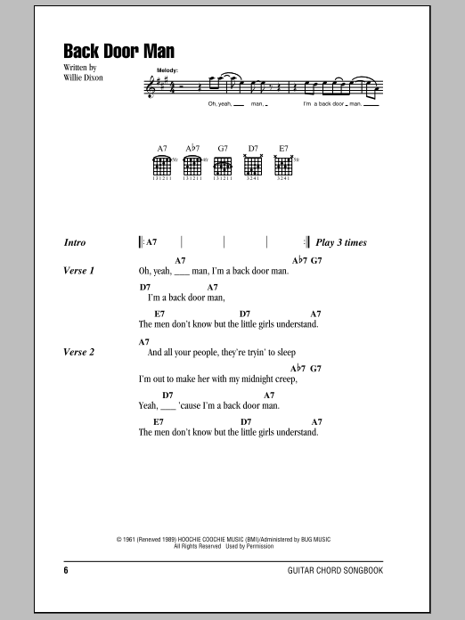The Doors Back Door Man sheet music notes and chords. Download Printable PDF.