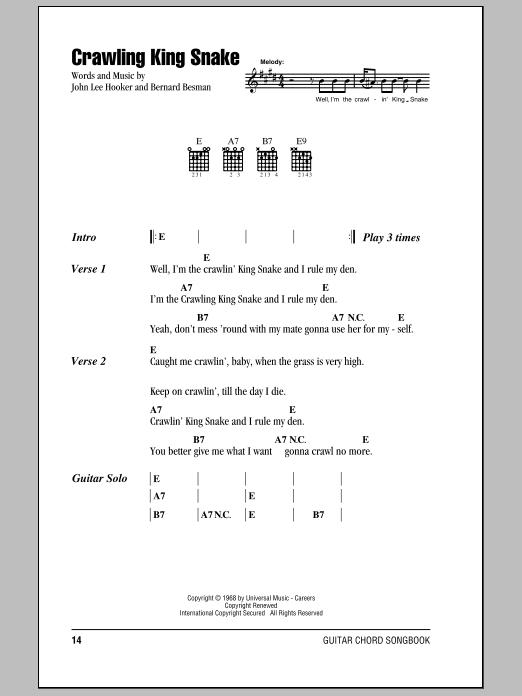 The Doors Crawling King Snake sheet music notes and chords. Download Printable PDF.