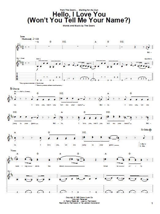 The Doors Hello, I Love You (Won't You Tell Me Your Name?) sheet music notes and chords. Download Printable PDF.