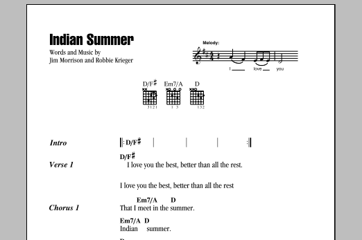 The Doors Indian Summer sheet music notes and chords. Download Printable PDF.