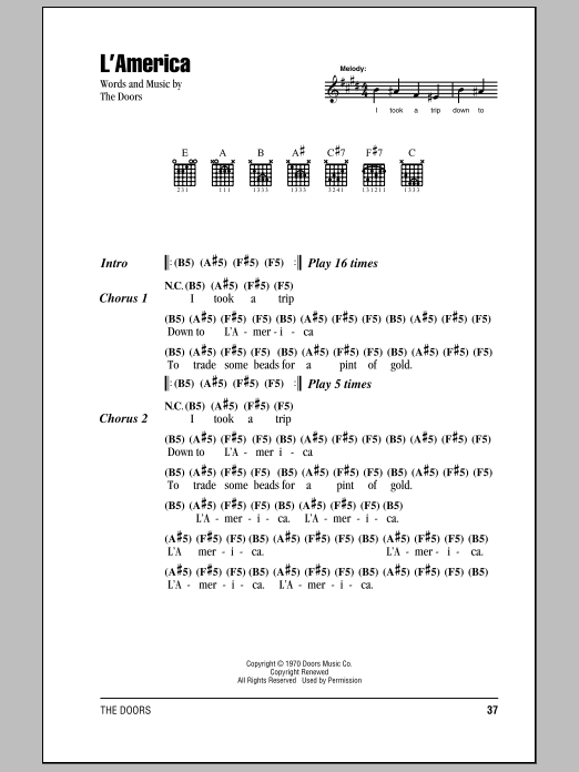The Doors L'America sheet music notes and chords. Download Printable PDF.