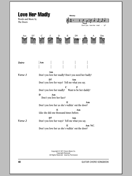 The Doors Love Her Madly sheet music notes and chords. Download Printable PDF.