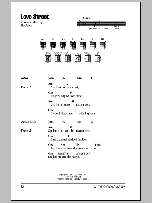 The Doors Love Street sheet music notes and chords. Download Printable PDF.
