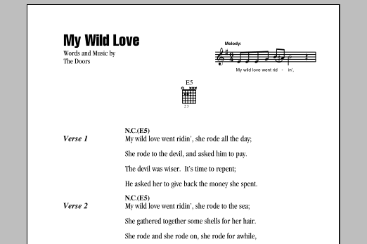 The Doors My Wild Love sheet music notes and chords. Download Printable PDF.